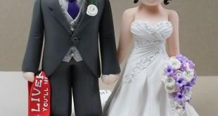 کیک عروسی،تزیین روی کیک عروسی با عروس وداماد