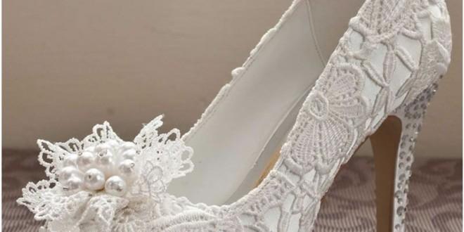 مدل کفش عروس دانتل مروارید نگین 2016